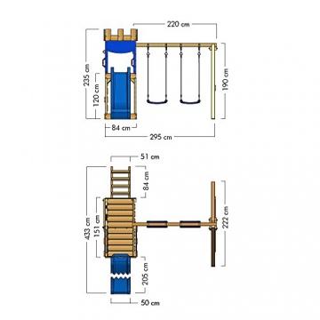 WICKEY Spielburg RoyalFlyer Spielturm Kletterturm Ritterburg mit Schaukel und Rutsche, extrabreitem Sandkasten, Kletterwand und Kletterleiter - 5