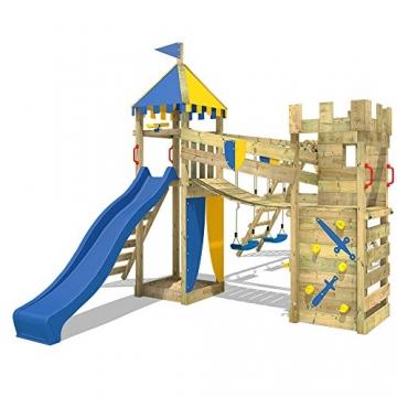 WICKEY Spielplatz Smart Legend 150 Kletterturm Ritterburg Spielturm mit Schaukel und Rutsche, Sandkasten, Kletteranbau und Wackelbrücke - 2