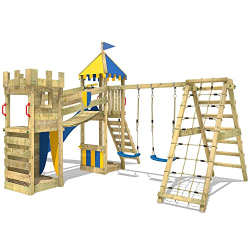 WICKEY Spielplatz Smart Legend 150 Kletterturm Ritterburg Spielturm mit Schaukel und Rutsche, Sandkasten, Kletteranbau und Wackelbrücke - 3
