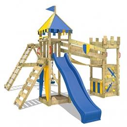 WICKEY Spielplatz Smart Legend 150 Kletterturm Ritterburg Spielturm mit Schaukel und Rutsche, Sandkasten, Kletteranbau und Wackelbrücke - 1