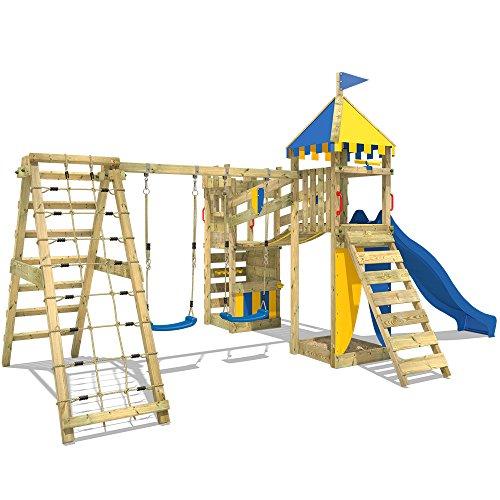 WICKEY Spielplatz Smart Legend 150 Kletterturm Ritterburg Spielturm mit Schaukel und Rutsche, Sandkasten, Kletteranbau und Wackelbrücke - 4