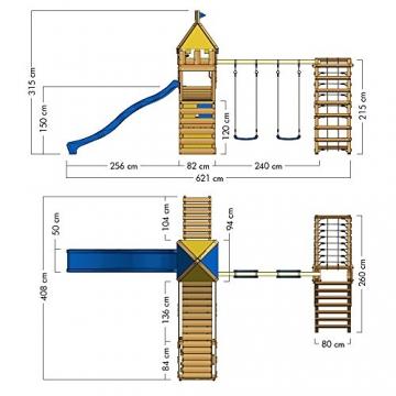 WICKEY Spielplatz Smart Legend 150 Kletterturm Ritterburg Spielturm mit Schaukel und Rutsche, Sandkasten, Kletteranbau und Wackelbrücke - 5