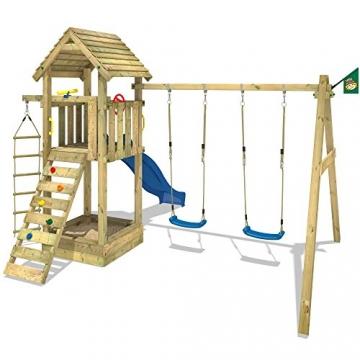 WICKEY Spielturm Captain's Tower+ Kinder-Spielhaus Holz Spielplatz Garten mit Holzdach, Doppelschaukel und blauer Rutsche -