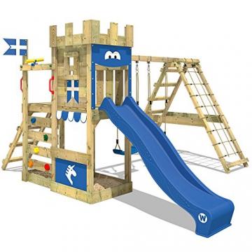 WICKEY Spielturm DragonFlyer Kletterturm in Ritterburg-Optik mit Doppelschaukel, Rutsche, Kletternetz und Sandkasten, blaue Plane + blaue Rutsche - 1