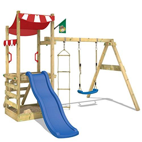 WICKEY Spielturm FunFlyer Spielhaus Kletterturm mit Schaukel Sandkasten Kletterleiter, blaue Rutsche + rote Plane -