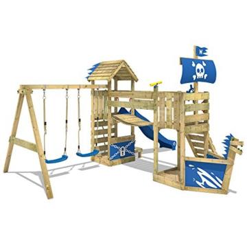 WICKEY Spielturm Klettergerüst GhostFlyer mit Schaukel & blauer Rutsche, Baumhaus mit Sandkasten, Kletterleiter & Spiel-Zubehör - 3