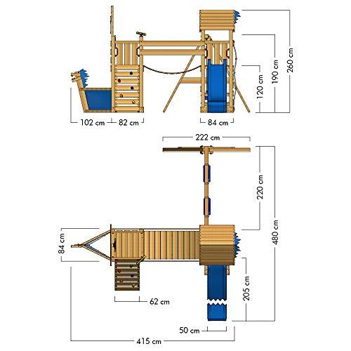 WICKEY Spielturm Klettergerüst GhostFlyer mit Schaukel & blauer Rutsche, Baumhaus mit Sandkasten, Kletterleiter & Spiel-Zubehör - 4