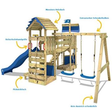 WICKEY Spielturm Klettergerüst GhostFlyer mit Schaukel & blauer Rutsche, Baumhaus mit Sandkasten, Kletterleiter & Spiel-Zubehör - 5