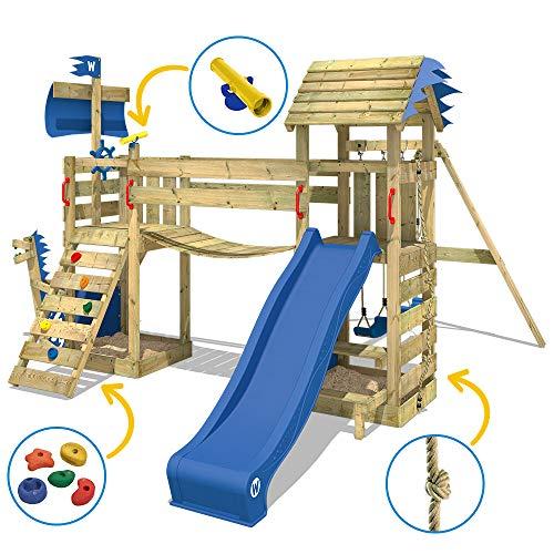 WICKEY Spielturm Klettergerüst GhostFlyer mit Schaukel & blauer Rutsche, Baumhaus mit Sandkasten, Kletterleiter & Spiel-Zubehör - 6