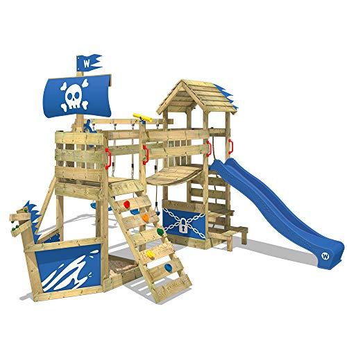 WICKEY Spielturm Klettergerüst GhostFlyer mit Schaukel & blauer Rutsche, Baumhaus mit Sandkasten, Kletterleiter & Spiel-Zubehör - 1