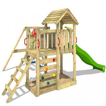 WICKEY Spielturm Klettergerüst MultiFlyer HD mit Schaukel & apfelgrüner Rutsche, Kletterturm mit Holzdach, Sandkasten, Leiter & Spiel-Zubehör - 2