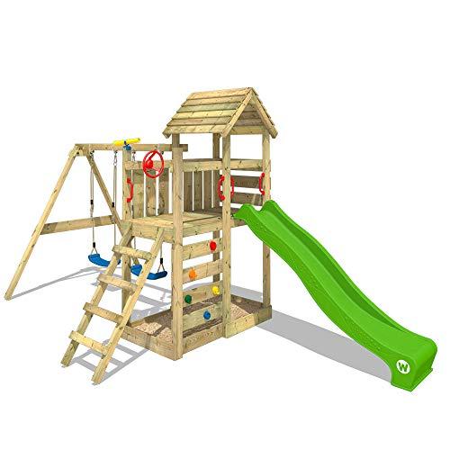WICKEY Spielturm Klettergerüst MultiFlyer HD mit Schaukel & apfelgrüner Rutsche, Kletterturm mit Holzdach, Sandkasten, Leiter & Spiel-Zubehör - 3