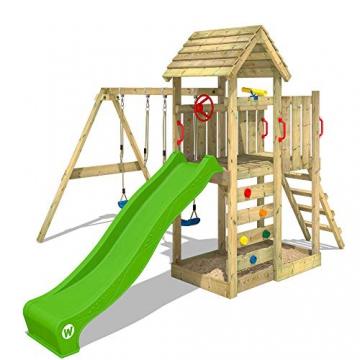 WICKEY Spielturm Klettergerüst MultiFlyer HD mit Schaukel & apfelgrüner Rutsche, Kletterturm mit Holzdach, Sandkasten, Leiter & Spiel-Zubehör - 4