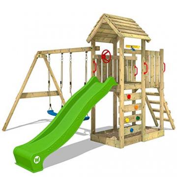 WICKEY Spielturm Klettergerüst MultiFlyer HD mit Schaukel & apfelgrüner Rutsche, Kletterturm mit Holzdach, Sandkasten, Leiter & Spiel-Zubehör - 1