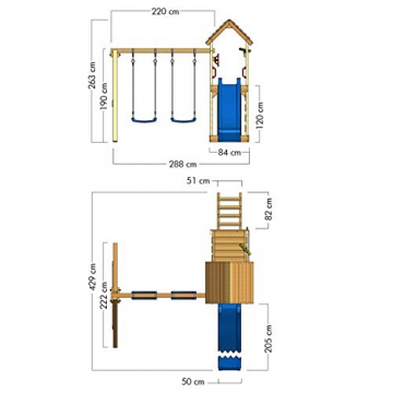 WICKEY Spielturm Klettergerüst MultiFlyer HD mit Schaukel & apfelgrüner Rutsche, Kletterturm mit Holzdach, Sandkasten, Leiter & Spiel-Zubehör - 6