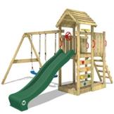 WICKEY Spielturm Klettergerüst MultiFlyer HD mit Schaukel & grüner Rutsche, Kletterturm mit Holzdach, Sandkasten, Leiter & Spiel-Zubehör - 1
