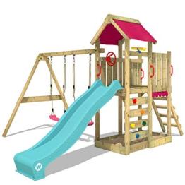 WICKEY Spielturm Klettergerüst MultiFlyer mit Schaukel & türkiser Rutsche, Kletterturm mit Sandkasten, Leiter & Spiel-Zubehör - 1