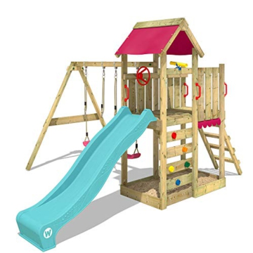 WICKEY Spielturm Klettergerüst MultiFlyer mit Schaukel & türkiser Rutsche, Kletterturm mit Sandkasten, Leiter & Spiel-Zubehör - 4