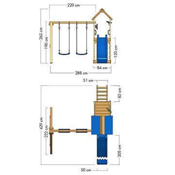 WICKEY Spielturm Klettergerüst MultiFlyer mit Schaukel & türkiser Rutsche, Kletterturm mit Sandkasten, Leiter & Spiel-Zubehör - 5