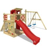WICKEY Spielturm Klettergerüst Smart Camp mit Schaukel & roter Rutsche, Baumhaus mit Sandkasten, Kletterleiter & Spiel-Zubehör - 1