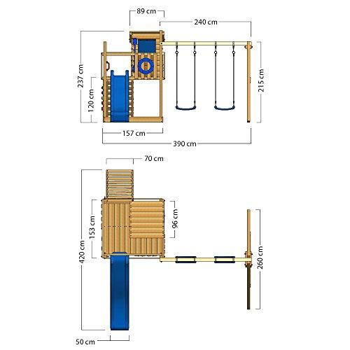 WICKEY Spielturm Klettergerüst Smart Camp mit Schaukel & roter Rutsche, Baumhaus mit Sandkasten, Kletterleiter & Spiel-Zubehör - 6