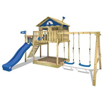 WICKEY Spielturm Klettergerüst Smart Coast mit Schaukel & grüner Rutsche, Stelzenhaus mit großem Sandkasten - 3