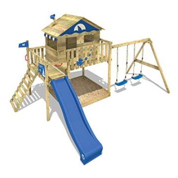 WICKEY Spielturm Klettergerüst Smart Coast mit Schaukel & grüner Rutsche, Stelzenhaus mit großem Sandkasten - 4