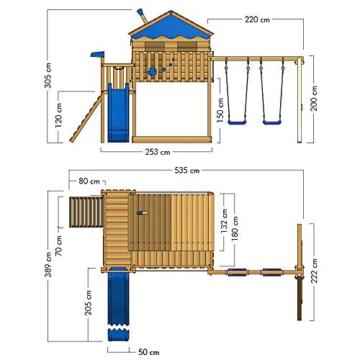 WICKEY Spielturm Klettergerüst Smart Coast mit Schaukel & grüner Rutsche, Stelzenhaus mit großem Sandkasten - 5