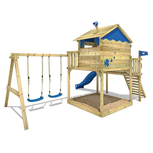 WICKEY Spielturm Klettergerüst Smart Coast mit Schaukel & grüner Rutsche, Stelzenhaus mit großem Sandkasten - 6