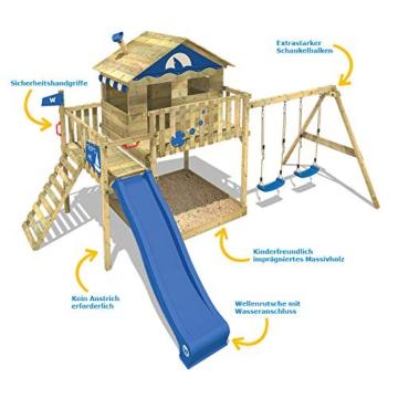 WICKEY Spielturm Klettergerüst Smart Coast mit Schaukel & grüner Rutsche, Stelzenhaus mit großem Sandkasten - 7