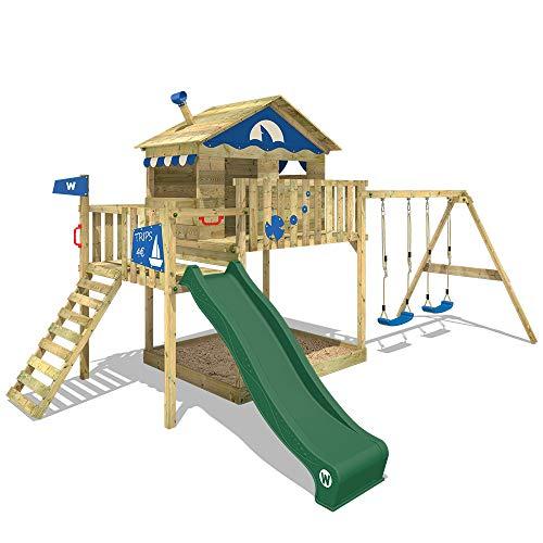 WICKEY Spielturm Klettergerüst Smart Coast mit Schaukel & grüner Rutsche, Stelzenhaus mit großem Sandkasten - 1