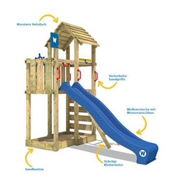 WICKEY Spielturm Klettergerüst Smart Flash mit blauer Rutsche, Kletterturm mit Sandkasten, Leiter & Spiel-Zubehör - 2