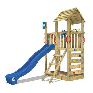 WICKEY Spielturm Klettergerüst Smart Flash mit blauer Rutsche, Kletterturm mit Sandkasten, Leiter & Spiel-Zubehör - 1
