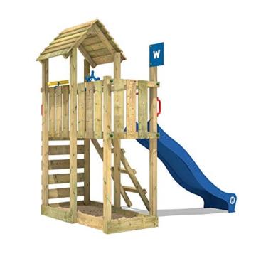 WICKEY Spielturm Klettergerüst Smart Flash mit blauer Rutsche, Kletterturm mit Sandkasten, Leiter & Spiel-Zubehör - 5