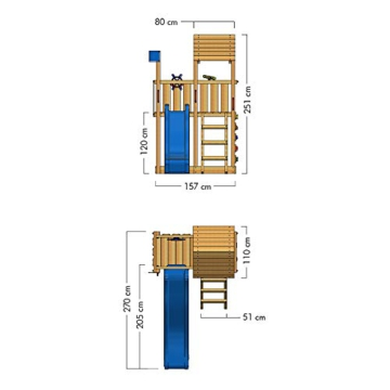 WICKEY Spielturm Klettergerüst Smart Flash mit blauer Rutsche, Kletterturm mit Sandkasten, Leiter & Spiel-Zubehör - 6