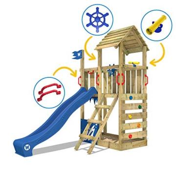 WICKEY Spielturm Klettergerüst Smart Flash mit blauer Rutsche, Kletterturm mit Sandkasten, Leiter & Spiel-Zubehör - 7