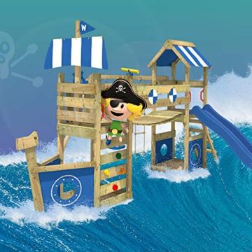 WICKEY Spielturm Klettergerüst StormFlyer mit Schaukel & blauer Rutsche, Baumhaus mit Sandkasten, Kletterleiter & Spiel-Zubehör - 2