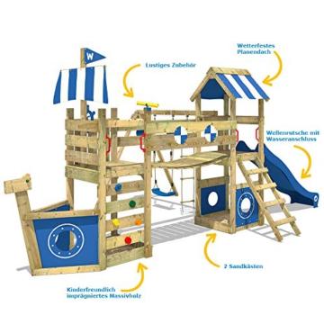 WICKEY Spielturm Klettergerüst StormFlyer mit Schaukel & blauer Rutsche, Baumhaus mit Sandkasten, Kletterleiter & Spiel-Zubehör - 3