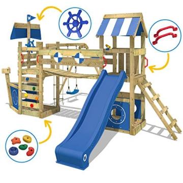 WICKEY Spielturm Klettergerüst StormFlyer mit Schaukel & blauer Rutsche, Baumhaus mit Sandkasten, Kletterleiter & Spiel-Zubehör - 4