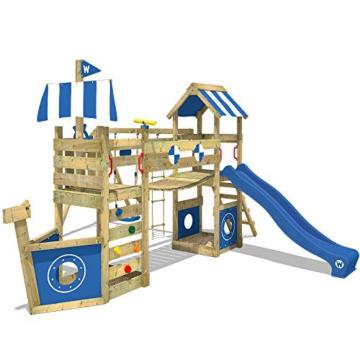 WICKEY Spielturm Klettergerüst StormFlyer mit Schaukel & blauer Rutsche, Baumhaus mit Sandkasten, Kletterleiter & Spiel-Zubehör - 1