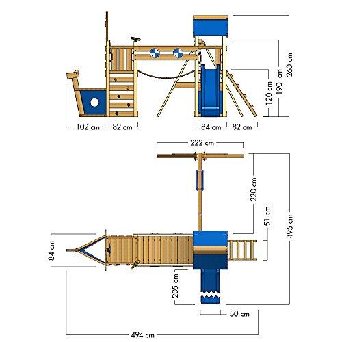 WICKEY Spielturm Klettergerüst StormFlyer mit Schaukel & blauer Rutsche, Baumhaus mit Sandkasten, Kletterleiter & Spiel-Zubehör - 6