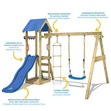 WICKEY Spielturm Klettergerüst TinyCabin mit Schaukel & roter Rutsche, Kletterturm mit Sandkasten, Leiter & Spiel-Zubehör - 2