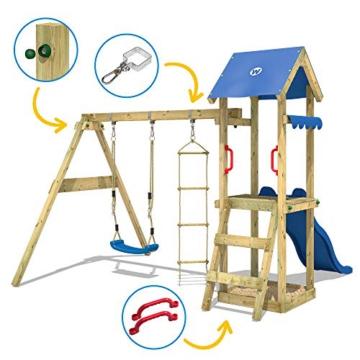 WICKEY Spielturm Klettergerüst TinyCabin mit Schaukel & roter Rutsche, Kletterturm mit Sandkasten, Leiter & Spiel-Zubehör - 3