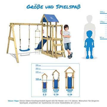 WICKEY Spielturm Klettergerüst TinyCabin mit Schaukel & roter Rutsche, Kletterturm mit Sandkasten, Leiter & Spiel-Zubehör - 4