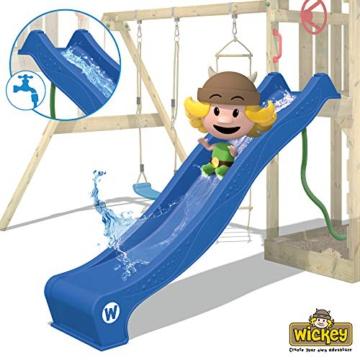 WICKEY Spielturm Klettergerüst TinyCabin mit Schaukel & roter Rutsche, Kletterturm mit Sandkasten, Leiter & Spiel-Zubehör - 6