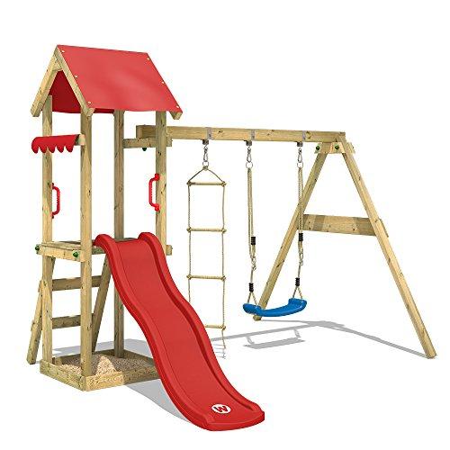WICKEY Spielturm Klettergerüst TinyCabin mit Schaukel & roter Rutsche, Kletterturm mit Sandkasten, Leiter & Spiel-Zubehör - 1
