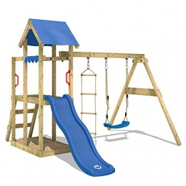 WICKEY Spielturm Klettergerüst TinyPlace Kletterturm Spielplatz mit Schaukel und Rutsche, Sandkasten und Strickleiter - 1