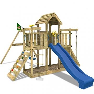 WICKEY Spielturm Little Robin Kletterturm mit Schaukel und Rutsche BLAU -
