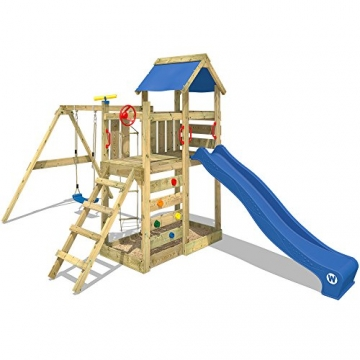WICKEY Spielturm 'MultiFlyer' Klettergerüst mit blauer Rutsche und oranger Plane - 3
