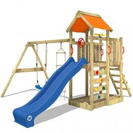 WICKEY Spielturm 'MultiFlyer' Klettergerüst mit blauer Rutsche und oranger Plane - 1